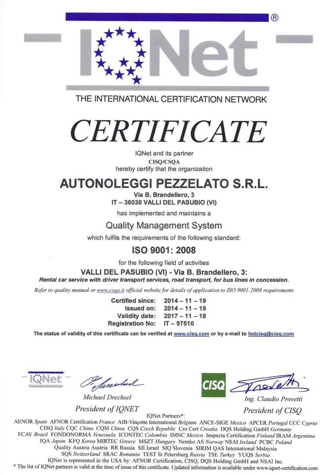 Certificato IQNET ISO 9001